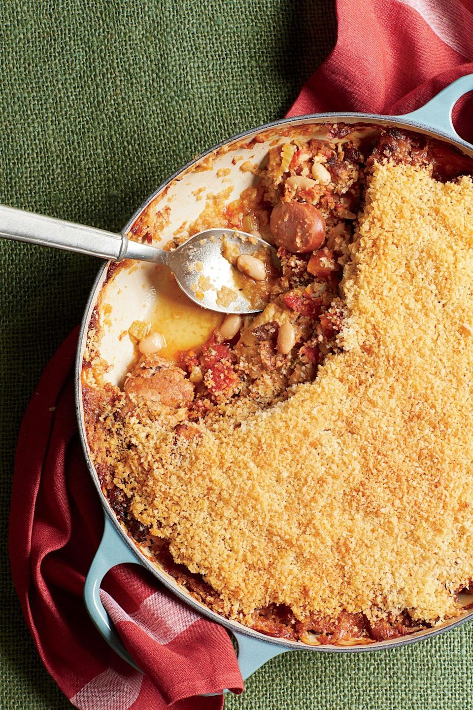 """<p><strong>Recipe: <a href=""""https://www.southernliving.com/syndication/faux-cassoulet"""" rel=""""nofollow noopener"""" target=""""_blank"""" data-ylk=""""slk:Faux Cassoulet"""" class=""""link rapid-noclick-resp"""">Faux Cassoulet</a></strong></p> <p>Juicy chicken thighs and country-style pork ribs make a hearty, savory dinner with veggies and beans. The crispy breadcrumb topping adds just the right amount of crunch.</p>"""
