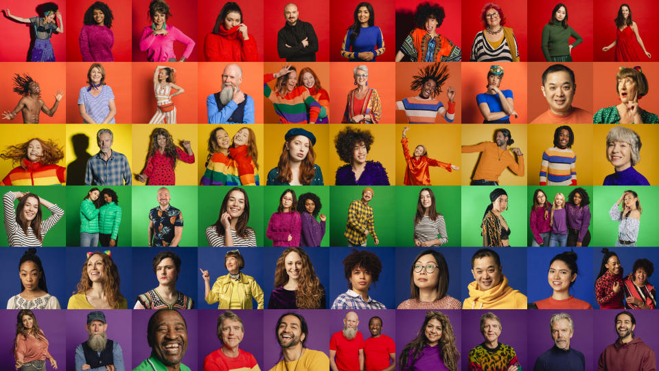 A montage of a large group of individual portraits together to form a pride flag that represents a multi-ethnic, mixed age range group.