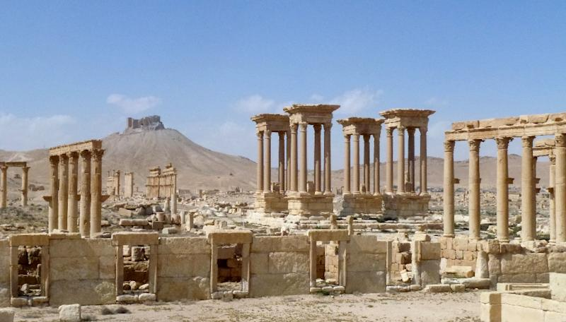 "Russia's defence ministry said its war planes had carried out more than 60 overnight strikes on Palmyra, claiming to have ""thwarted all terrorist attacks"" on the city (AFP Photo/Maher AL MOUNES)"