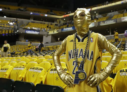 Landon Roosa watches as the Indiana Pacers prepare for Game 3 of an Eastern Conference semifinal NBA basketball playoff series against the New York Knicks in Saturday, May 11, 2013, in Indianapolis. (AP Photo/Darron Cummings)