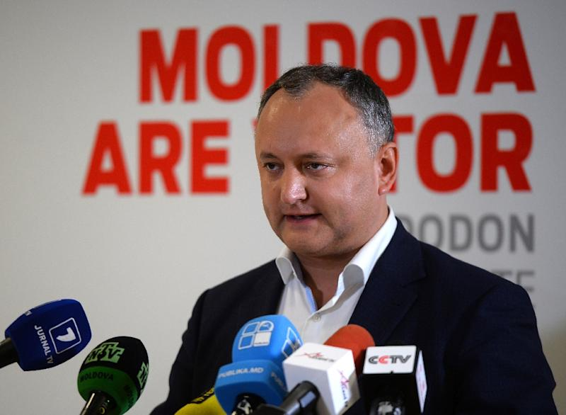 Presidential candidate Igor Dodon gives a press conference after polls closed at the Socialists Party of Moldova (PSRM) headquarters in Chisinau, on October 30, 2016