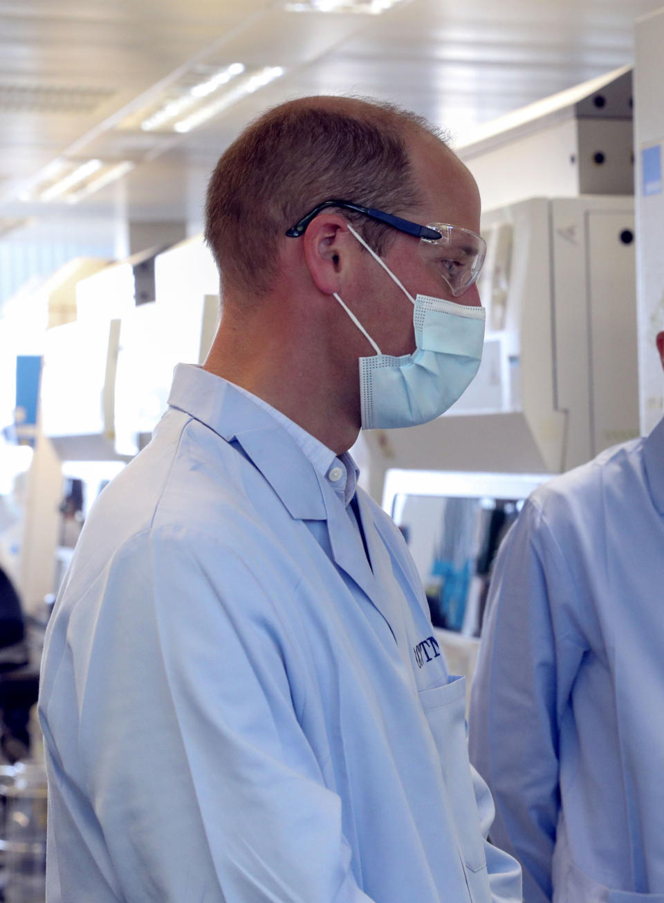EMBARGOED: not for publication before 2200 BST Wednesday June 24, 2020. The Duke of Cambridge wears a mask during a visit to the manufacturing laboratory where a vaccine against COVID-19 has been produced at the Oxford Vaccine Group's facility at the Churchill Hospital in Oxford.