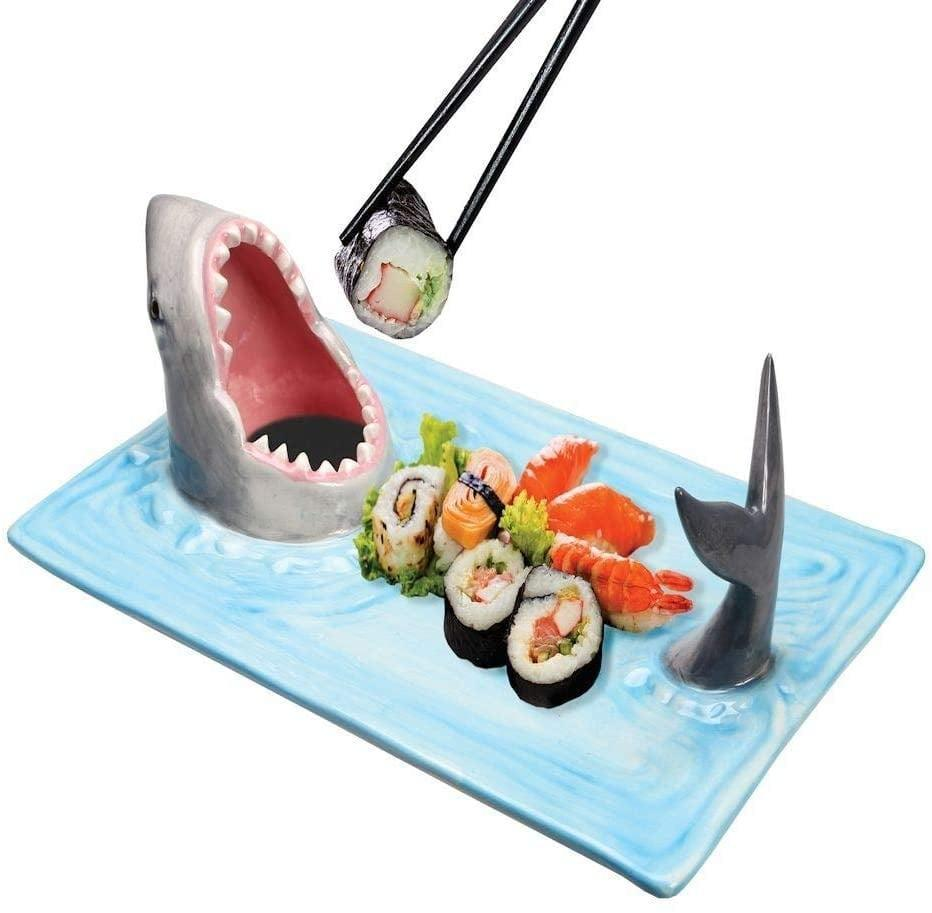 <p>Charcuterie boards have nothing on this <span>What On Earth Shark Attack Sushi Platter</span> ($35).</p>