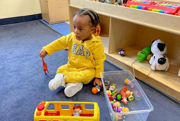 Eighteen-month-old Christian at the Horizons early-childhood center in Dorchester. (Horizons for Homeless Children)