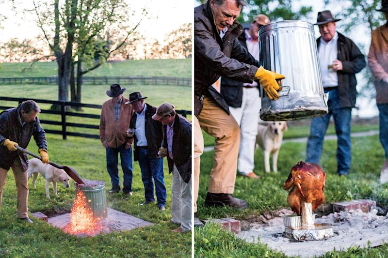 The turkey is cooked on a stake under a 20-gallon metal trash can. | Peter Frank Edwards; Styling: Dakota Willimon