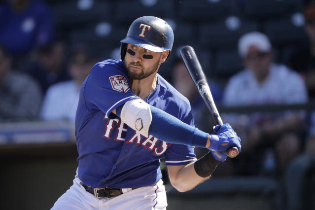 Texas Rangers' Joey Gallo bats during the fourth inning of a spring training baseball game against the Chicago Cubs Wednesday, Feb. 27, 2019, in Surprise, Ariz. (AP Photo/Charlie Riedel)