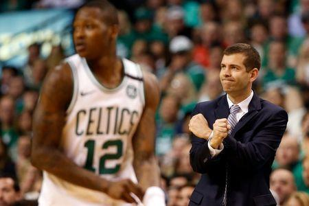 May 23, 2018; Boston, MA, USA; Boston Celtics head coach Brad Stevens reacts after a score against the Cleveland Cavaliers during the fourth quarter of game five of the Eastern conference finals of the 2018 NBA Playoffs at TD Garden. Mandatory Credit: Winslow Townson-USA TODAY Sports