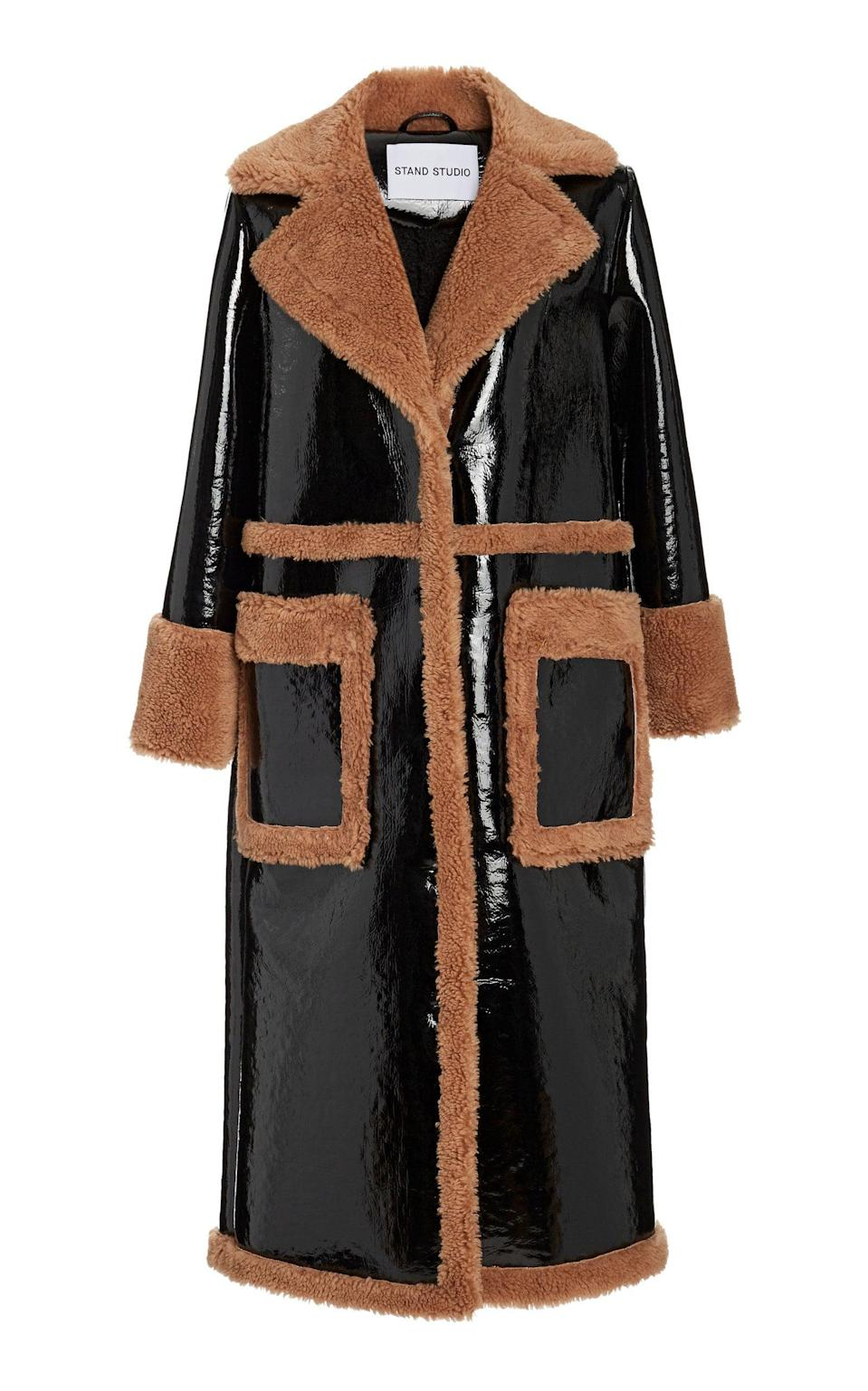 <p>This <span>Stand Studio Aubrey Faux Shearling and Vinyl Coat</span> ($700) is so chic.</p>