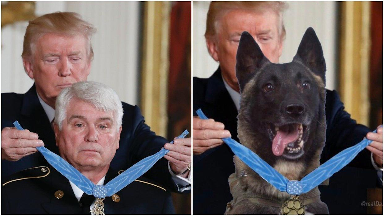 James McCloughan, left, received a Medal of Honor for his service during the Vietnam War. (Photo: Alex Brandon via AP/Twitter/@realdonaldtrump)
