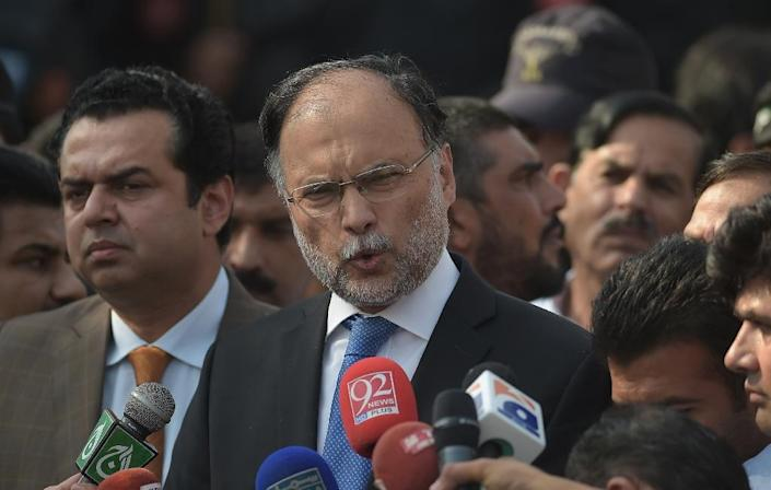Pakistani Interior Minister Ahsan Iqbal is a US-educated lawmaker from a political family and was touted as a potential prime minister when Nawaz Sharif was ousted last July (AFP Photo/AAMIR QURESHI)