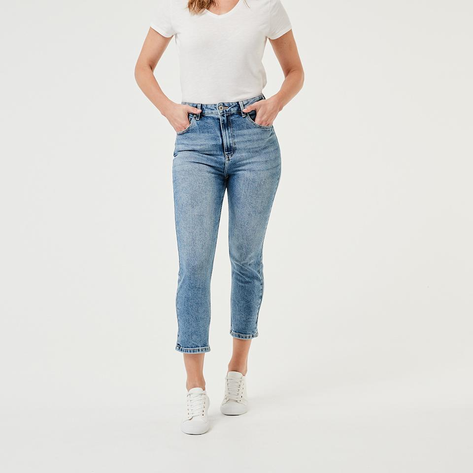 Kmart stock image of high rise straight jeans
