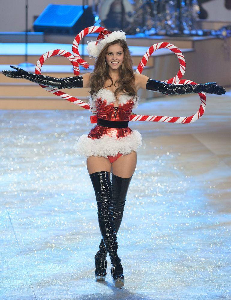 Barbara Palvin walking the runway in a Santa outfit at her first Victoria's Secret Fashion Show in 2012.