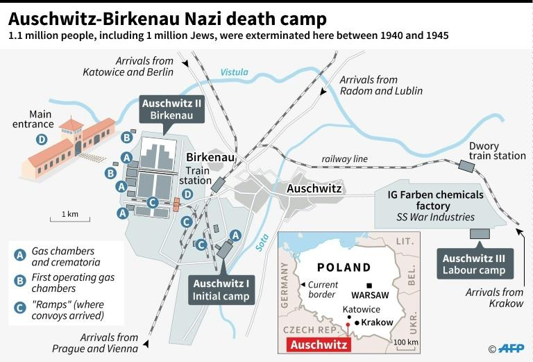 Map of the Auschwitz-Birkenau Nazi death camp as it was in 1944 in Poland. Over a million Jews were exterminated in the camp by the Nazis between 1940 and 1945