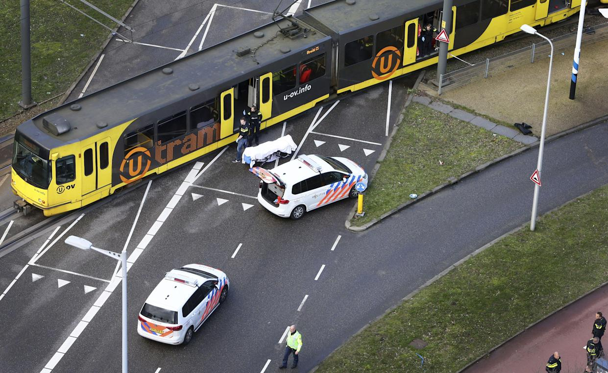 Special Police forces inspect a tram at the 24 Oktoberplace in Utrecht, on March 18, 2019 where a shooting took place. – A gunman opened fire on a tram in the Dutch city of Utrecht on March 18, 2019, killing at least one person and wounding several in what officials said was a possible terrorist incident. (Photo: Ricardo Smit/AFP/Getty Images)