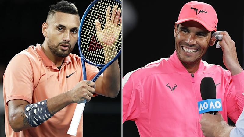 Nick Kyrgios, pictured left has played down his feud with Rafael Nadal, pictured right, ahead of their fourth round Australian Open match.