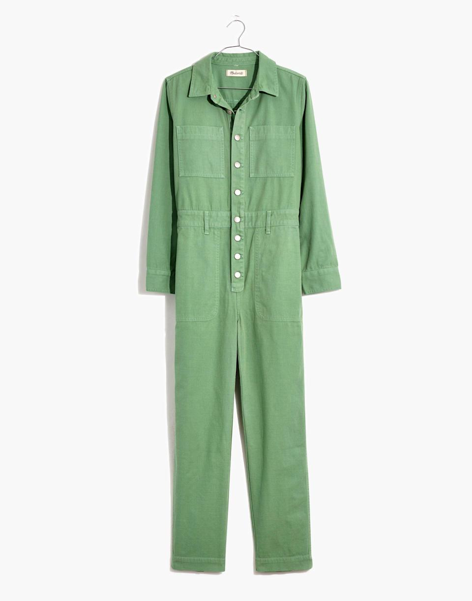"""<p><strong>Madewell</strong></p><p>madewell.com</p><p><a href=""""https://go.redirectingat.com?id=74968X1596630&url=https%3A%2F%2Fwww.madewell.com%2Fgarment-dyed-relaxed-coverall-jumpsuit-MC933.html&sref=https%3A%2F%2Fwww.cosmopolitan.com%2Fstyle-beauty%2Ffashion%2Fg36065935%2Fmadewell-spring-sale-2021%2F"""" rel=""""nofollow noopener"""" target=""""_blank"""" data-ylk=""""slk:SHOP NOW"""" class=""""link rapid-noclick-resp"""">SHOP NOW</a></p><p><strong><del>$148</del> $89 (40% off)</strong></p><p>Boiler jumpsuits are having a big moment right now. If you've been coveting one but haven't taken the plunge yet, this Madewell number has glowing reviews. As one shopper put it: """"I'm absolutely in love. It is incredibly flattering on my curvy figure (5'7,"""" 150) and super comfortable. Seriously, wish I could wear this every single day."""" Petite and plus sizes are also available and on sale. </p>"""