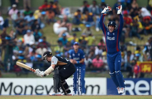 KANDY, SRI LANKA - SEPTEMBER 29:  Craig Kieswetter of England celebrates catching out Kane Williamson of New Zealand during the  ICC World Twenty20 2012 Super Eights Group 1 match between England and New Zealand at Pallekele Cricket Stadium on September 29, 2012 in Kandy, Sri Lanka.  (Photo by Gareth Copley/Getty Images,)