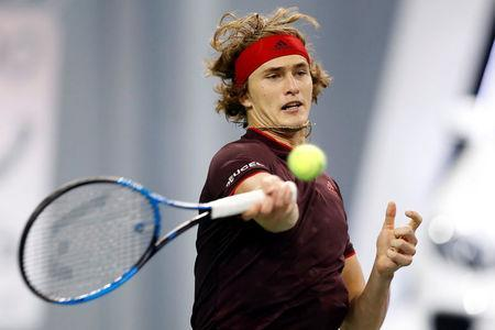 Tennis - Shanghai Masters tennis tournament - Shanghai, China - October 12, 2017 - Alexander Zverev of Germany in action against Juan Martin del Potro of Argentina. REUTERS/Aly Song