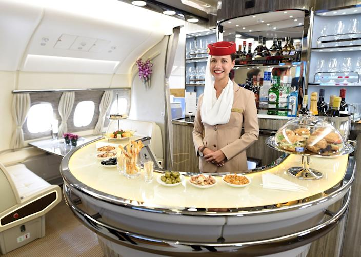 An onboard bar of an Airbus A380 is pictured during a delivery ceremony of Emirates' 100th Airbus A380