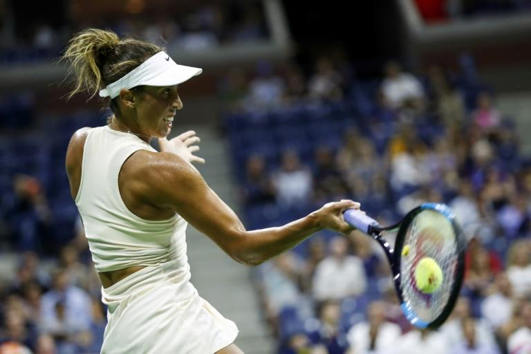 Madison Keys en route to a US Open first-round vitory over Pauline Parmentier