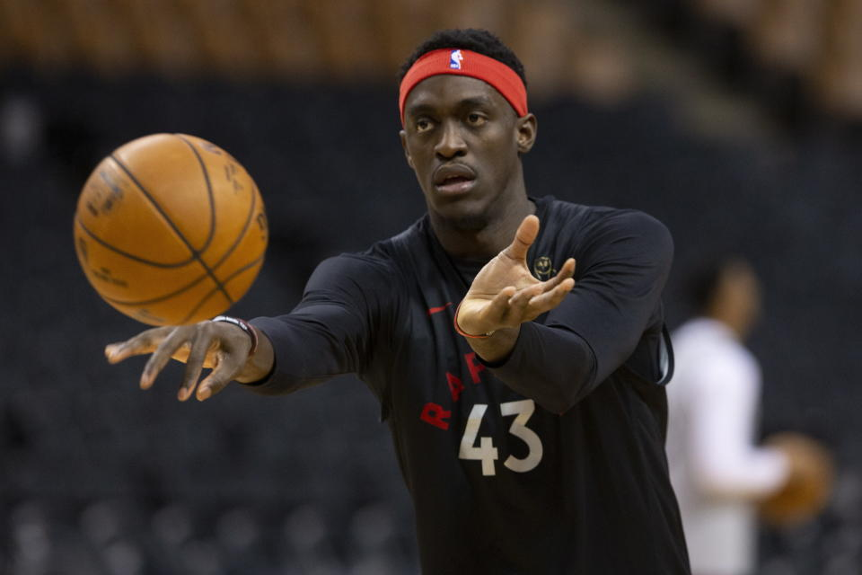 Toronto Raptors' Pascal Siakam makes a pass during an NBA basketball practice in Toronto, Sunday June 9, 2019, ahead of Monday's Game 5 of the NBA Finals against the Golden State Warriors. (Chris Young/The Canadian Press via AP)