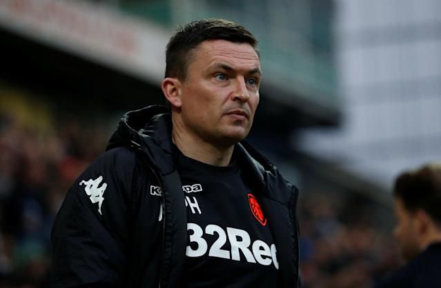 """Soccer Football - Championship - Preston North End vs Leeds United - Deepdale, Preston, Britain - April 10, 2018 Leeds United manager Paul Heckingbottom before the match Action Images/Craig Brough EDITORIAL USE ONLY. No use with unauthorized audio, video, data, fixture lists, club/league logos or """"live"""" services. Online in-match use limited to 75 images, no video emulation. No use in betting, games or single club/league/player publications. Please contact your account representative for further details."""