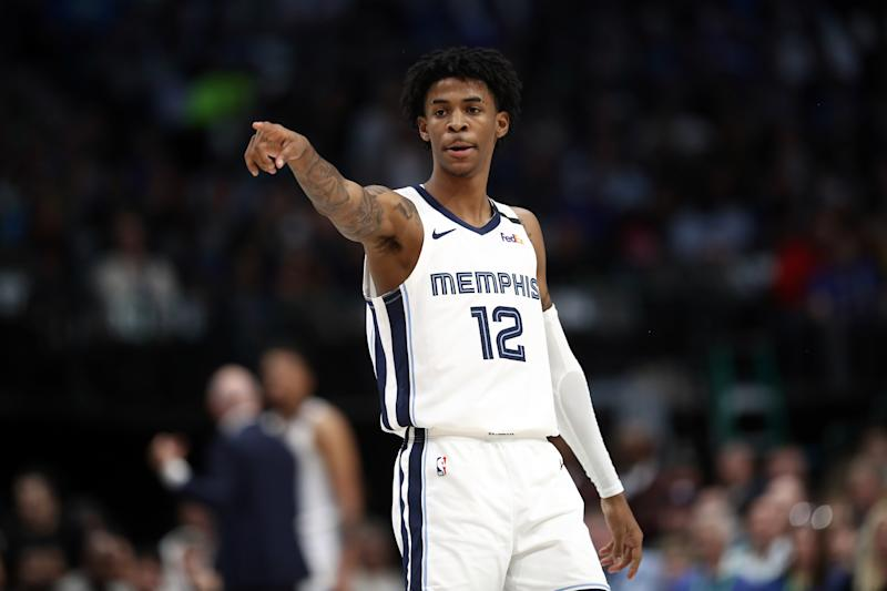 DALLAS, TEXAS - MARCH 06: Ja Morant #12 of the Memphis Grizzlies during play against the Dallas Mavericks in the first half at American Airlines Center on March 06, 2020 in Dallas, Texas. NOTE TO USER: User expressly acknowledges and agrees that, by downloading and or using this photograph, User is consenting to the terms and conditions of the Getty Images License Agreement. (Photo by Ronald Martinez/Getty Images)