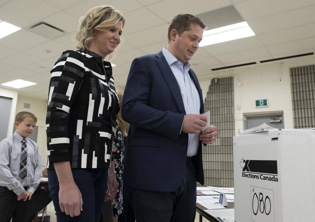 Conservative leader Andrew Scheer and his wife Jill Scheer wait to cast their ballots at a polling station in his riding in Regina, Monday October 21, 2019. THE CANADIAN PRESS/Adrian Wyld