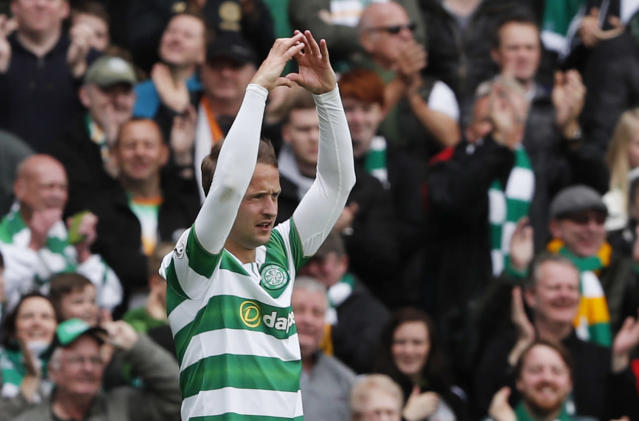 """Britain Football Soccer - Celtic v Heart of Midlothian - Scottish Premiership - Celtic Park - 21/5/17 Celtic's Leigh Griffiths celebrates scoring their first goal Reuters / Russell Cheyne Livepic EDITORIAL USE ONLY. No use with unauthorized audio, video, data, fixture lists, club/league logos or """"live"""" services. Online in-match use limited to 45 images, no video emulation. No use in betting, games or single club/league/player publications. Please contact your account representative for further details."""