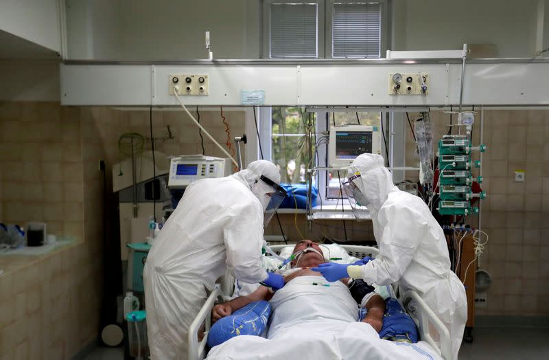 FILE PHOTO: Patients suffering from the coronavirus disease (COVID-19) in Slany Hospital