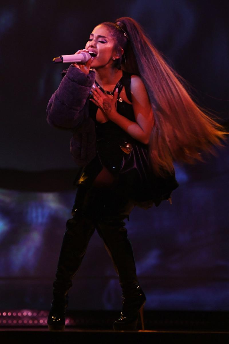 Ariana Grande performs onstage during the Sweetener World Tour in March.