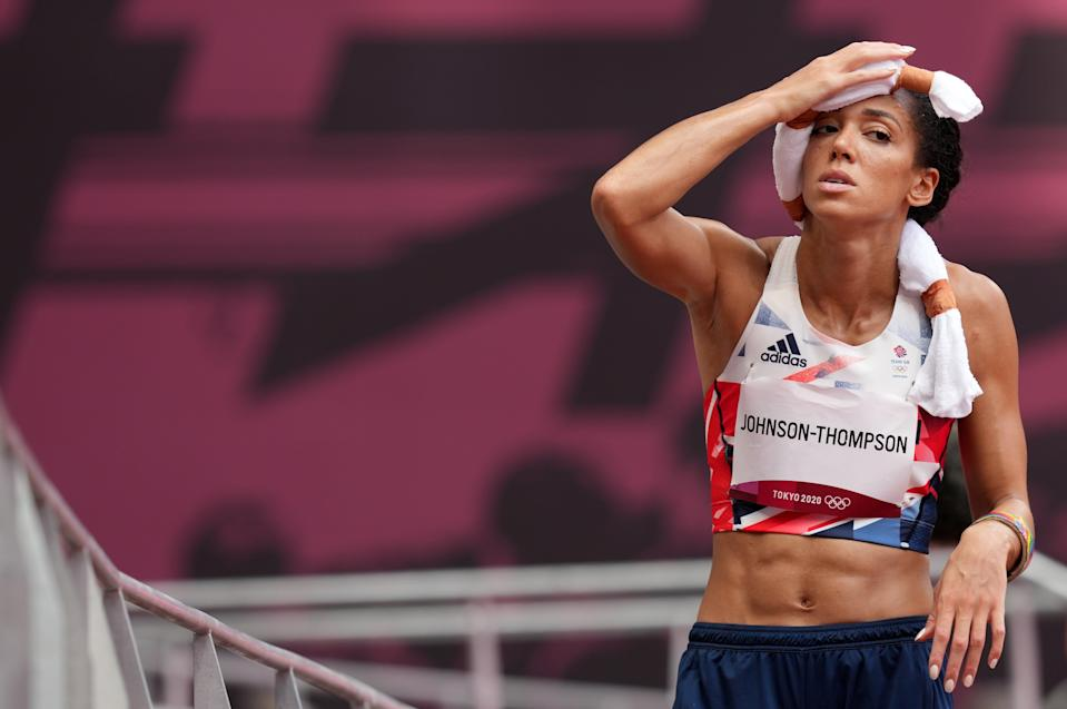 Johnson-Thompson tries to keep cool during the heptathlon in Japan. (Martin Rickett/PA) (PA Wire)