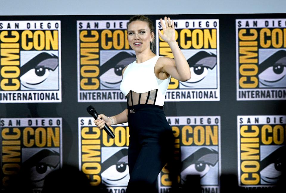 SAN DIEGO, CALIFORNIA - JULY 20: Scarlett Johansson speaks at the Marvel Studios Panel during 2019 Comic-Con International at San Diego Convention Center on July 20, 2019 in San Diego, California. (Photo by Kevin Winter/Getty Images)
