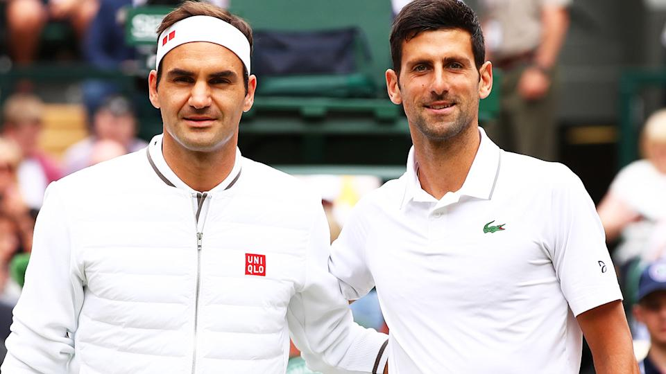 Roger Federer and Novak Djokovic, pictured here before the 2019 Wimbledon final.