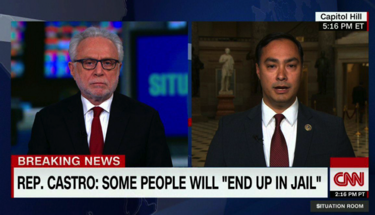 Joaquin Castro has warned that someone will end up in jail over Trump's ties with Russia (Picture: CNN)