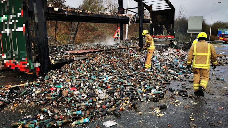A lorry filled with Pringles containers caught fire (Picture: Highways England)
