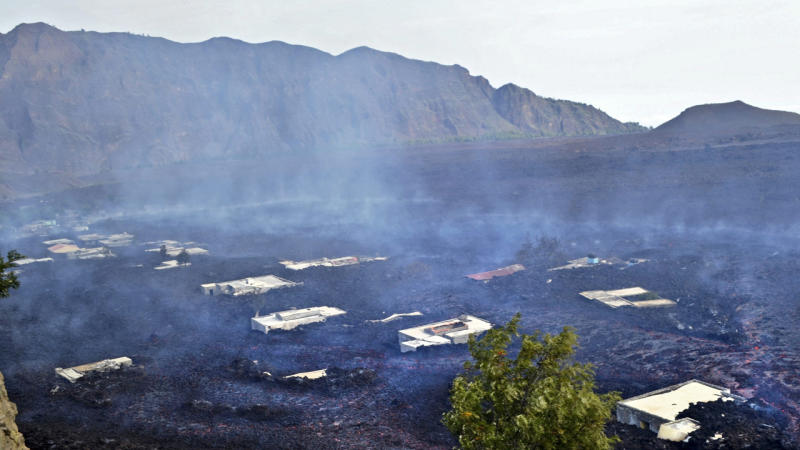 Dozens of homes, two churches and a school have been destroyed by a volcanic eruption on Cape Verde.
