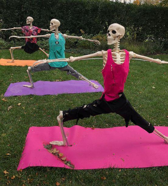PHOTO: In 2018 Joseph Lee decorated his yard with skeletons doing yoga. (Courtesy Joseph Lee)