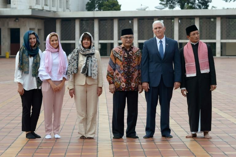US Vice President Mike Pence and his family were taken on a tour of Istiqlal, Indonesia's biggest mosque, in Jakarta