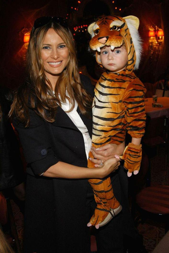 """<p>Back in 2009, Melania <a rel=""""nofollow noopener"""" href=""""http://celebritybabies.people.com/2009/05/12/melania-trump-barron-is-a-trilingual-toddler/"""" target=""""_blank"""" data-ylk=""""slk:said"""" class=""""link rapid-noclick-resp"""">said</a> toddler Barron was speaking English, French, and her native Slovenian. These days, he's <a rel=""""nofollow noopener"""" href=""""http://www.gq.com/story/melania-trump-gq-interview"""" target=""""_blank"""" data-ylk=""""slk:still fluent"""" class=""""link rapid-noclick-resp"""">still fluent</a> in Slovenian and uses it to communicate <a rel=""""nofollow noopener"""" href=""""https://www.redbookmag.com/life/news/g4460/melania-trump-parents-amalija-knavs-viktor-knavs/"""" target=""""_blank"""" data-ylk=""""slk:with his grandparents"""" class=""""link rapid-noclick-resp"""">with his grandparents</a>.</p>"""