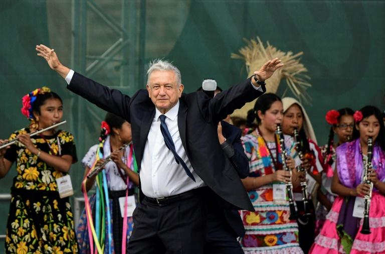Mexican President Andres Manuel Lopez Obrador, pictured on July 1, 2019, ran as an anti-establishment leftist when he was elected last year