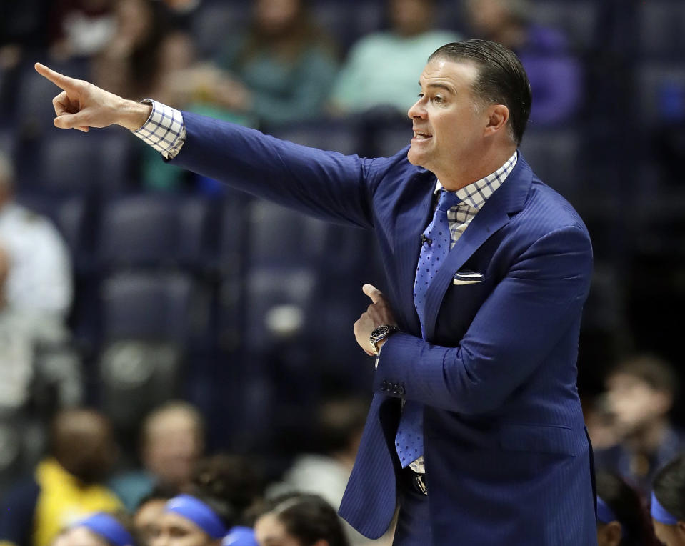 Kentucky head coach Matthew Mitchell directs his players in the second half of an NCAA college basketball game against Mississippi State at the women's Southeastern Conference tournament Friday, March 2, 2018, in Nashville, Tenn. Mississippi State won 81-58. (AP Photo/Mark Humphrey)