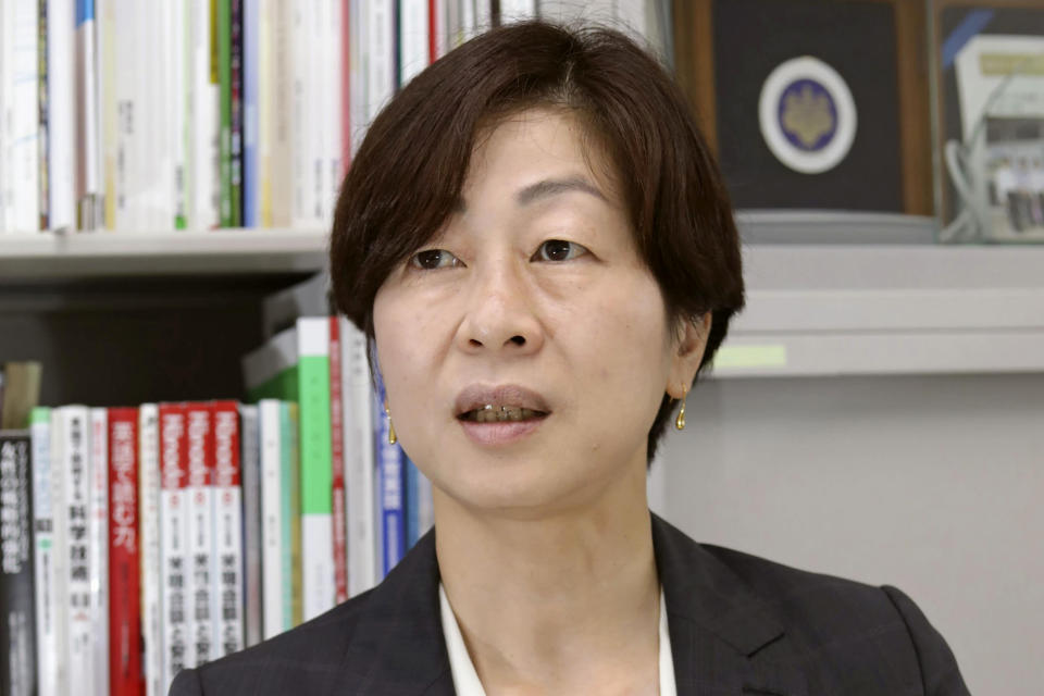 """FILE - In this May 19, 2021, file photo, Japan's Kaori Yamaguchi, an executive member of the Japanese Olympic Committee, speaks during an interview in Tokyo. """"We have been cornered into a situation where we cannot even stop now. We are damned if we do, and damned if we do not,"""" Yamaguchi, a bronze medalist in judo in 1988, wrote in a recent editorial published by Japan's Kyodo news agency. (Kyodo News via AP, File)"""