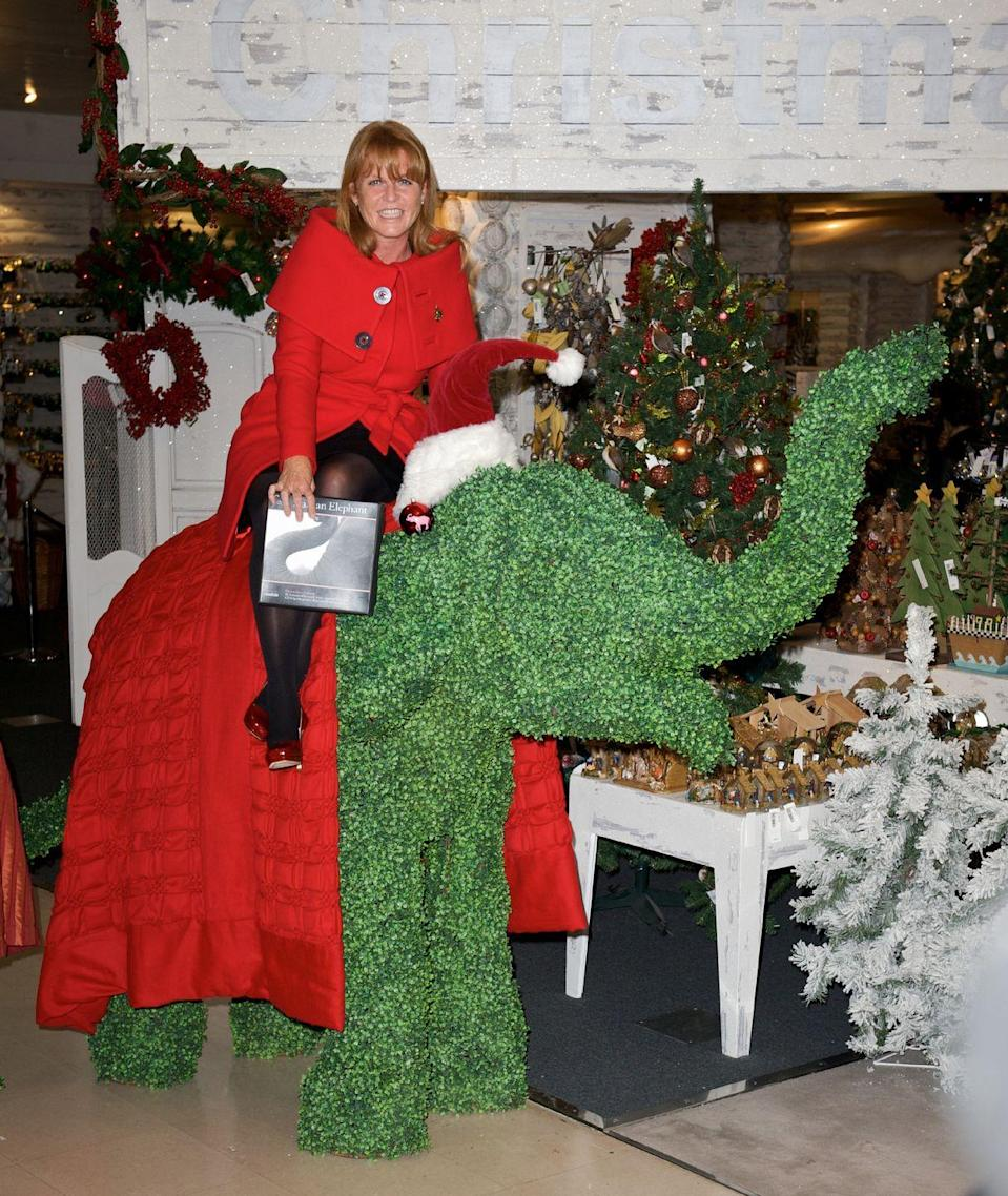 <p>Sarah Ferguson, Duchess of York, poses on a particularly interesting decoration at Selfridges.</p>