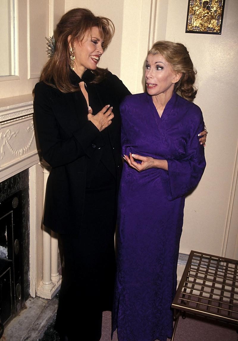 "Raquel Welch and Joan Rivers attend the ""Sally Marr ... and her escorts"" Broadway performance on April 22, 1994 at the Helen Hayes Theatre in New York City. (Ron Galella, Ltd./WireImage)"