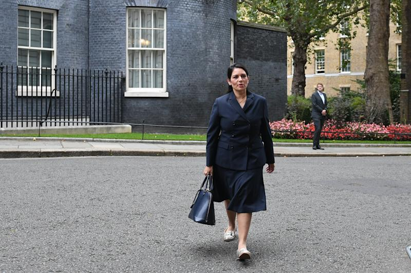 Home Secretary Priti Patel arriving in Downing Street, London for a Cabinet meeting.