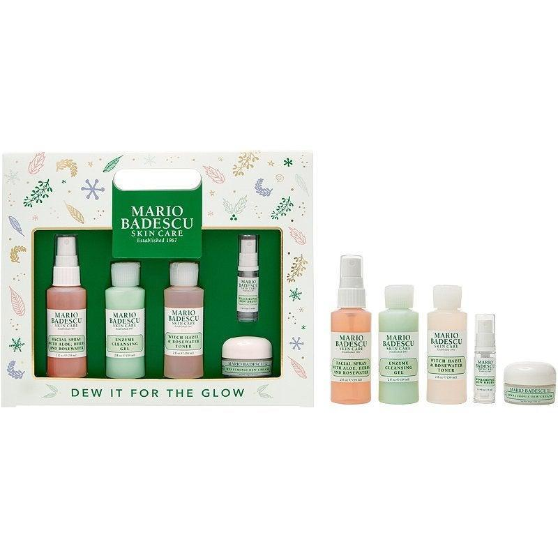 "<h3>Mario Badescu Dew It For The Glow Routine Kit</h3> <br> Get a complete skin-care routine in one kit with this Mario Badescu kit, which includes a rosewater mist, cleanser, toner, and face cream. <br> <br> <strong>Mario Badescu</strong> Dew It For The Glow Routine Kit, $, available at <a href=""https://go.skimresources.com/?id=30283X879131&amp;url=https%3A%2F%2Fwww.ulta.com%2Fall-best-kit%3FproductId%3Dpimprod2019687"" rel=""nofollow noopener"" target=""_blank"" data-ylk=""slk:Ulta Beauty"" class=""link rapid-noclick-resp"">Ulta Beauty</a>"