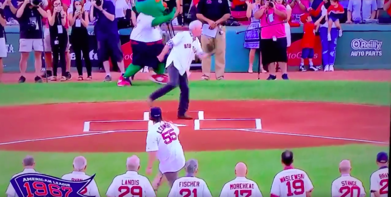 First pitch at Red Sox game nails photographer in the groin