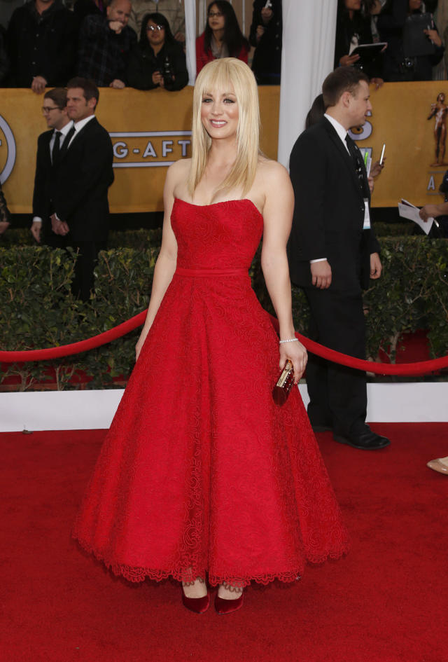 Kaley Cuoco arrives at the 19th Annual Screen Actors Guild Awards at the Shrine Auditorium in Los Angeles on Sunday Jan. 27, 2013. (Photo by Todd Williamson/Invision for The Hollywood Reporter/AP Images)