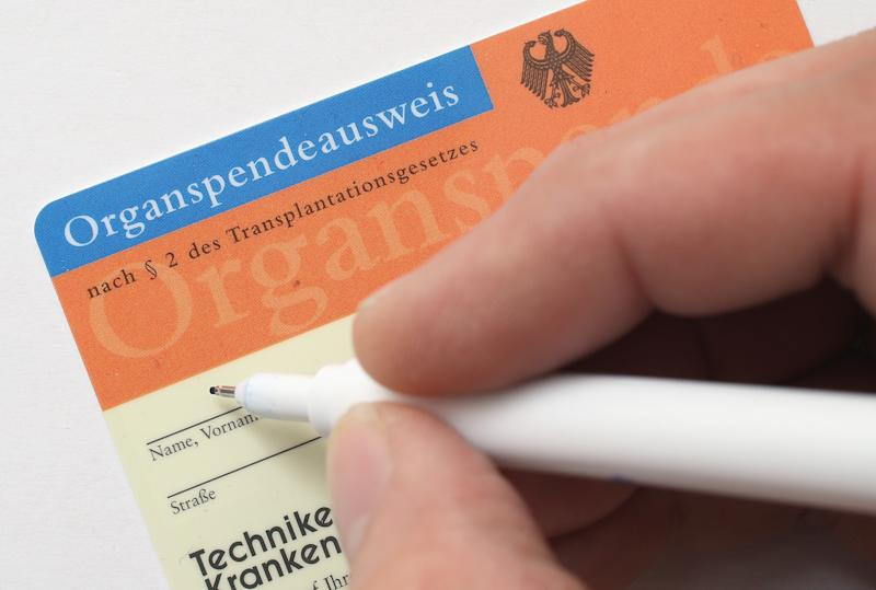 BERLIN, GERMANY - NOVEMBER 13: In this photo illustration a real organ donor's card (Organspendeausweis) from public health insurer Techniker Krankenkasse is seen on November 13, 2012 in Berlin, Germany. German health insurance companies are sending out the cards to their policy holders in an effort to get more people registered for organ donation. Demand for organs in Germany is high and waiting lists are long. (Photo Illustration by Sean Gallup/Getty Images)